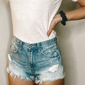 High Wasted Distressed Women Shorts